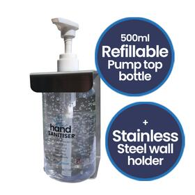500ml Pump Top Bottle and Wall Holder