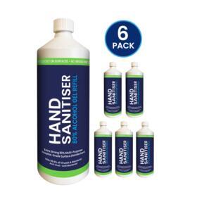 1L Hand Sanitiser Gel Refill Bottle (6 Pack)