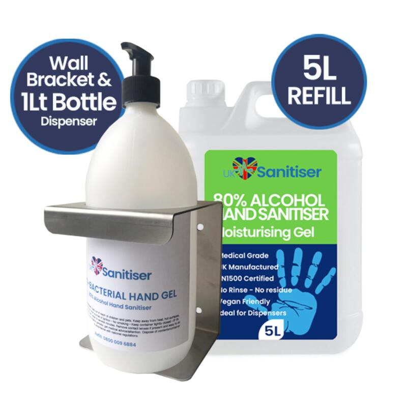 1Lt Bottle Dispenser & 5 Litre Sanitiser Refill