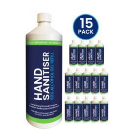 1L Hand Sanitiser Gel Refill Bottle (15 Pack)